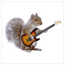 Squirrel Guitar Poster