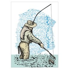 Fly fishing trout Poster