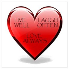 Live Laugh Love Heart Poster