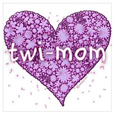 Twi-Mom Purple Retro Flower Heart ri Poster