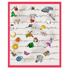 Illustrated Alphabet Framed Print