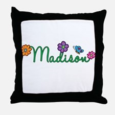 Madison Flowers Throw Pillow