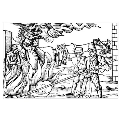 Burning Witches Woodcut 17x11 Print Poster