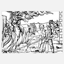 Burning Witches Woodcut 17x11 Print