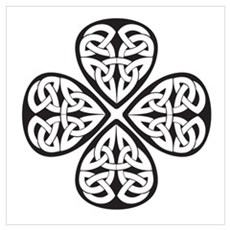 Black Shamrock Celtic Knot Poster