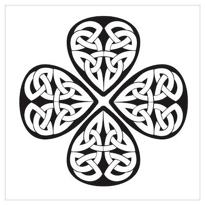 Black Shamrock Celtic Knot Poster