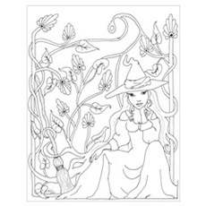 Witchy Broom - Art Nouveau Poster