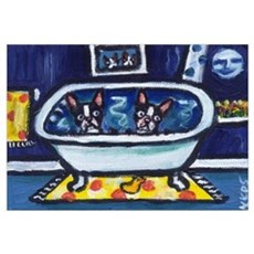 BOSTON TERRIER bath moon smil Framed Print
