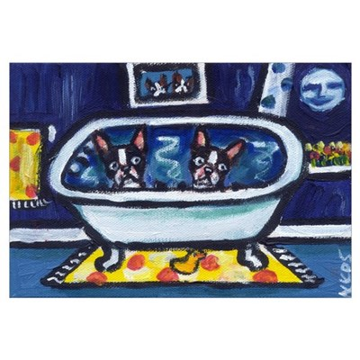 BOSTON TERRIER bath moon smil Poster