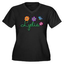 Lydia Flowers Women's Plus Size V-Neck Dark T-Shir