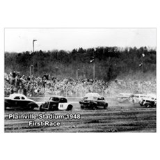 Plainville Stadium 1948 First Race Print Poster