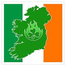 irish flag land flame Poster