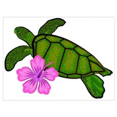 Colored Sea Turtle Hibiscus Poster