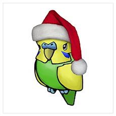 Christmas Budgie Poster