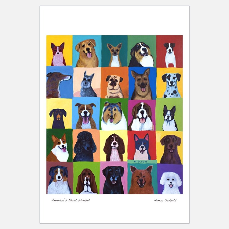 Cute Happy dog faces Wall Art
