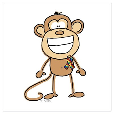 Autism Monkey Canvas Art