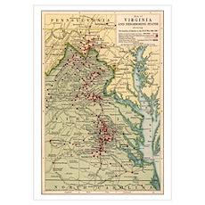 Virginia Civil War Map Poster