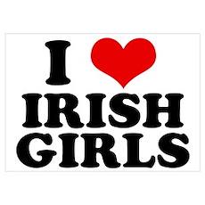 I Heart Irish Girls Red Poster