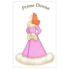 Redhead Prima Donna in Pink Robe Poster