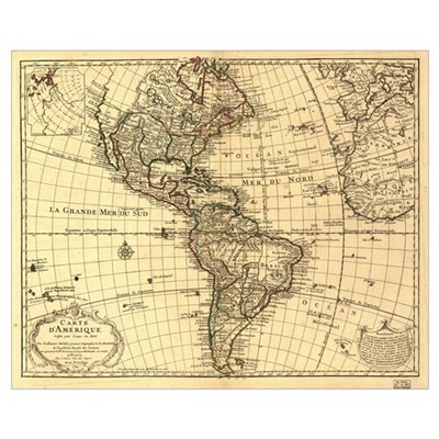1870 Map of the Americas Poster