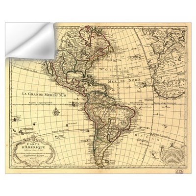 1870 Map of the Americas Wall Decal