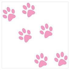 Pink Walk-On-Me Pawprints Poster