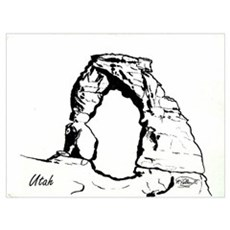 Delicate Arch BW Poster