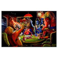 Gods Playing Poker Poster