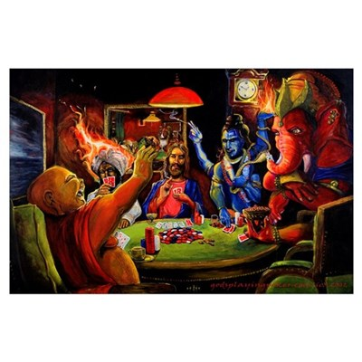 Gods Playing Poker Poster