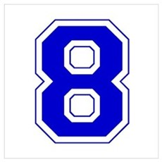 Varsity Font Number 8 Blue Framed Print