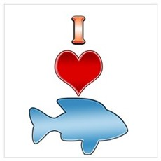 I Heart fish Poster