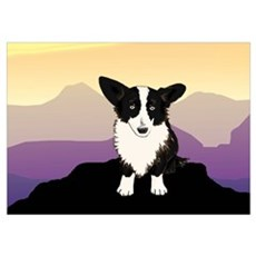 Purple Mountain Corgi Poster