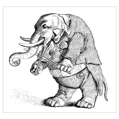 Elephant with Tail Coat Canvas Art
