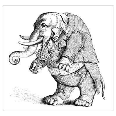 Elephant with Tail Coat Poster