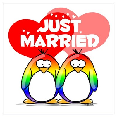 Just Married Rainbow Penguins Poster