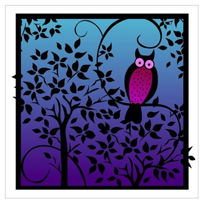 Funky Night Owl Canvas Art