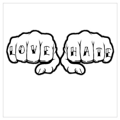 Love Hate Tattoo Fists Poster