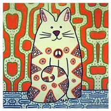 Peace Cat Original Funky Art Canvas Art