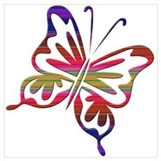 Cool Rainbow Retro Butterfly Poster