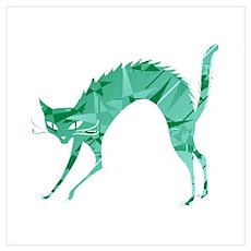 Green Cat Poster