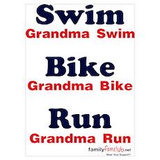 Triathlon Grandma Poster