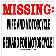 MISSING WIFE AND MOTORCYCLE Poster