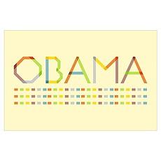 Rainbow Fold Obama (Large) Poster