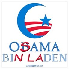 Obama Bin Laden w/ Moon Poster