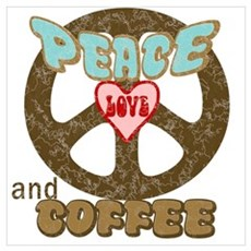 Peace Love and Coffee Canvas Art