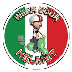 Vespa Scooter Helmet Poster