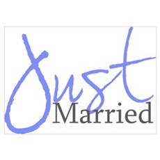 Just Married (Blue Script) Poster