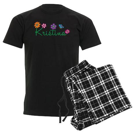 Kristina Flowers Men's Dark Pajamas