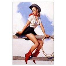 Sittin Pretty Elvgren Vintage Cowgirl Poster