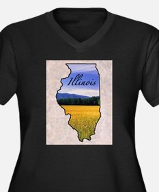 Unique Illinois Women's Plus Size V-Neck Dark T-Shirt